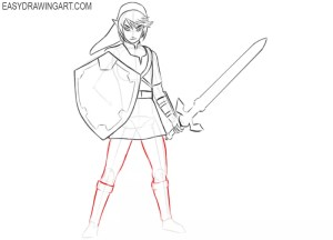 link easy drawing zelda draw step