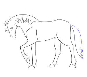 simple draw line sketch horse easy drawing step easiest drawings horses jagged paintingvalley sketches tail curving easydrawingguides