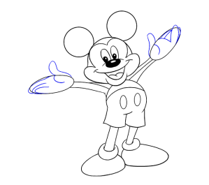 mickey mouse draw outline drawing line easy guides step characters drawings head face disney fingers couple eraser lines hands classic