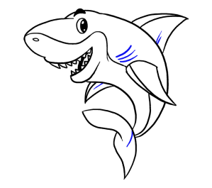 shark draw drawing cartoon easy sharks step fin jaws outline curved tail mouth clipartmag pectoral lines dorsal short place series