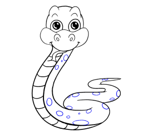 snake draw cartoon drawing easy step illustration guides line circles ovals various sizes such length down messymimi meanderings