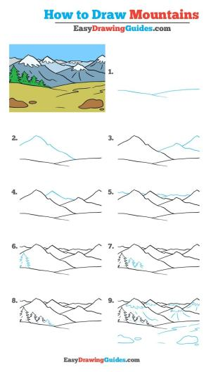 draw mountains easy drawing tutorial mountain step really drawings tutorials easydrawingguides beginners beginner landscape simple sketch learn cartoon guide steps