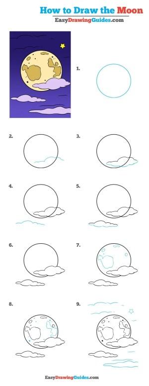 moon drawing easy draw drawings really tutorial easydrawingguides step simple realistic beginners tutorials doodles doodle paintingvalley guide getdrawings easydrawing
