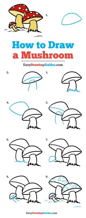 mushroom drawing draw step easy simple easydrawingguides doodles tutorial drawings doodle guides beginners wildflowersandwanderlust animal things learn flowers steps sketches