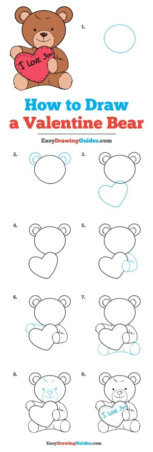 teddy bear draw valentine drawing easy heart valentines drawings step easydrawingguides tutorial tutorials learn really steps beginners holidays dessin sketches
