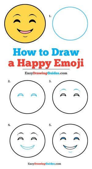 emoji happy face emojis draw drawing easy drawings step easydrawingguides smiley really tutorial doodle guide yellow