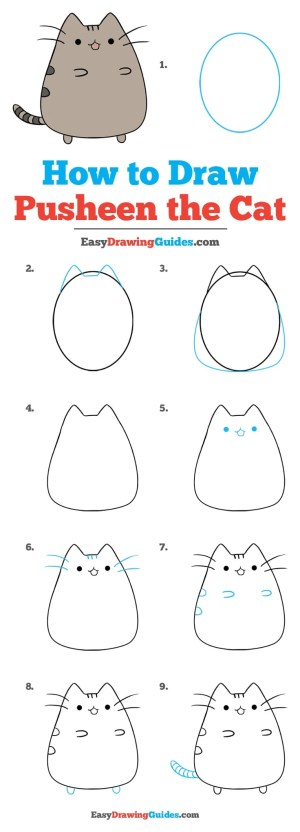 pusheen cat draw drawing tutorial easy steps easydrawingguides really complete