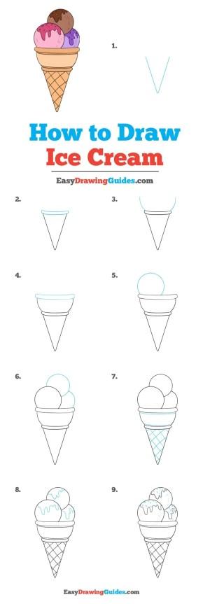 ice cream drawing draw easy drawings step tutorial easydrawingguides simple really steps icecream kolay fun beginners cone tutorials animals cartoon