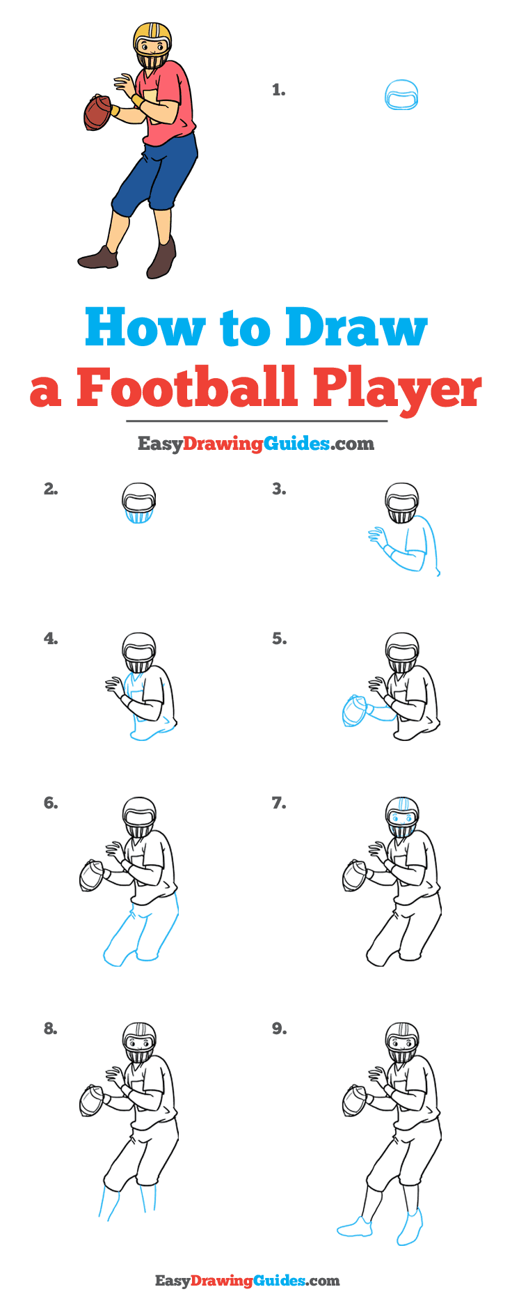 Football Player Drawing Easy : football, player, drawing, Football, Player, Really, Drawing, Tutorial