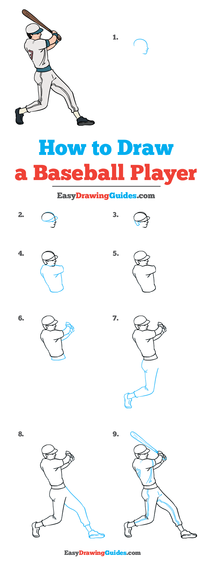 Baseball Drawing Easy : baseball, drawing, Baseball, Player, Really, Drawing, Tutorial