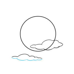 moon draw easy drawing outline using tutorial really step portion enclose curved connected cloud lines bottom short