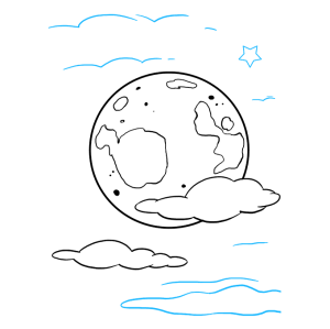 moon draw easy drawing tutorial step clouds using really nearby curved connected sizes lines additional above below different star