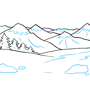 mountains draw drawing step easy mountain tutorial really
