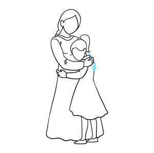 daughter mother hugging draw easy mom drawings drawing tutorial step lines necessary overlapping erasing guide use