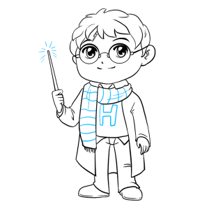potter harry draw lines easy drawing step face scarf letter wand curved really glasses extending stripe short shirt using form