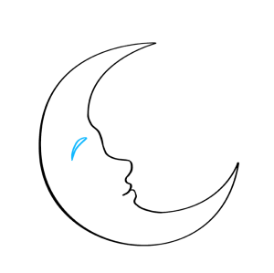 moon crescent draw easy step drawings drawing outline face lines cresent beginner curved brow enclose pointed sharply forms shape behind