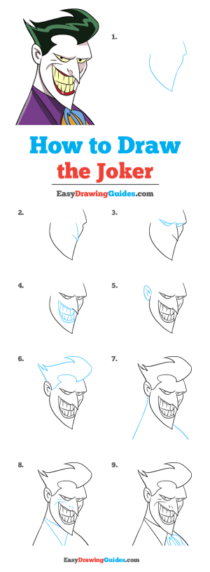 joker draw drawing easy tutorial drawings step easydrawingguides learn cartoon sketches sketch tutorials characters
