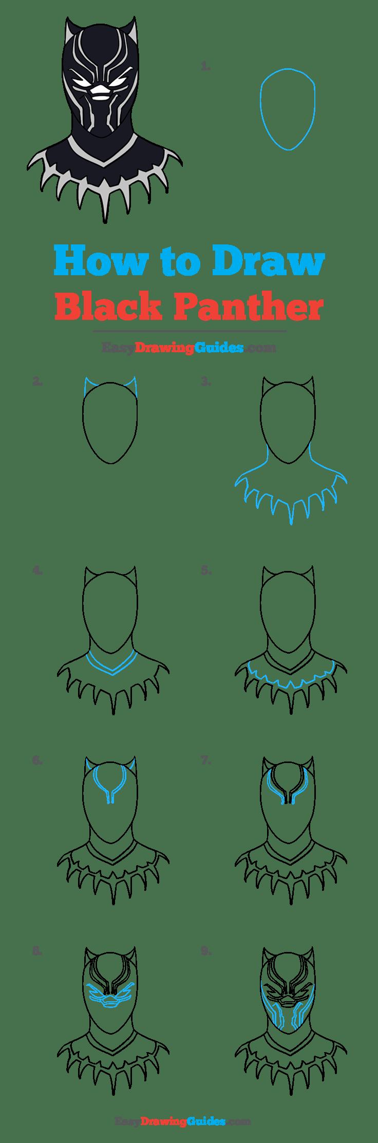 Easy Black Panther Drawing : black, panther, drawing, Black, Panther, Really, Drawing, Tutorial