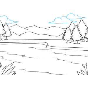 lake draw drawing step easy line tutorial overlapping sky shape lines form clouds mountains curved