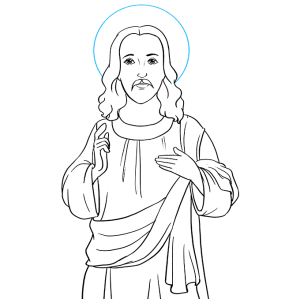 jesus draw easy drawing head step halo behind indicating circle