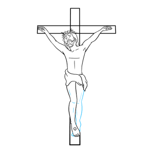 jesus cross draw lines drawing easy step contour leg foot curved use partially remaining hidden should