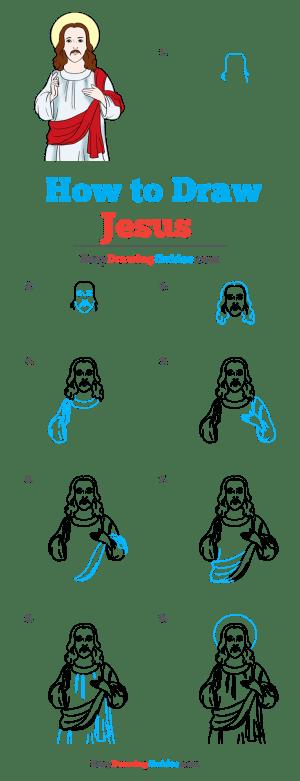 jesus draw drawing easy tutorial
