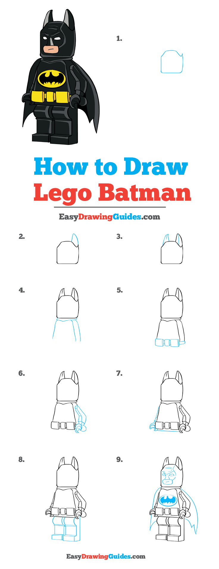 Lego Drawing Easy : drawing, Batman, Really, Drawing, Tutorial