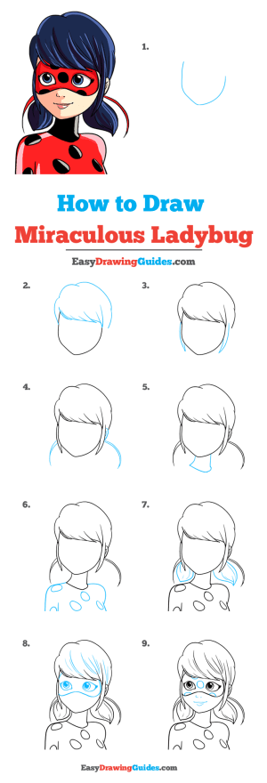 ladybug miraculous draw drawing easy tutorial drawings cartoon easydrawingguides lady bug steps really marinette complete kwami