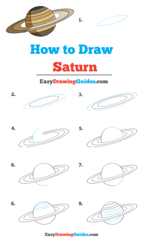 saturn drawing draw tutorial easy printable complete really