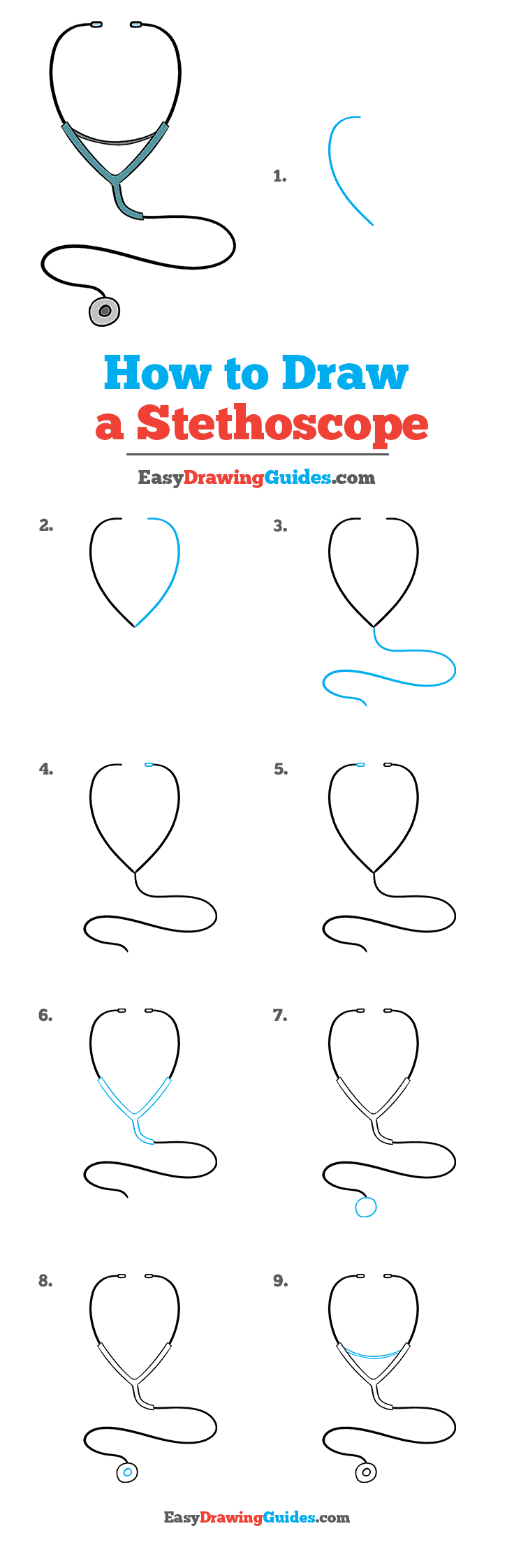 Stethoscope Drawing Easy : stethoscope, drawing, Stethoscope, Really, Drawing, Tutorial