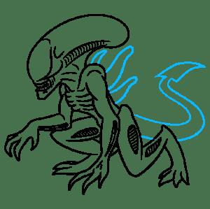 xenomorph alien draw step drawing easy