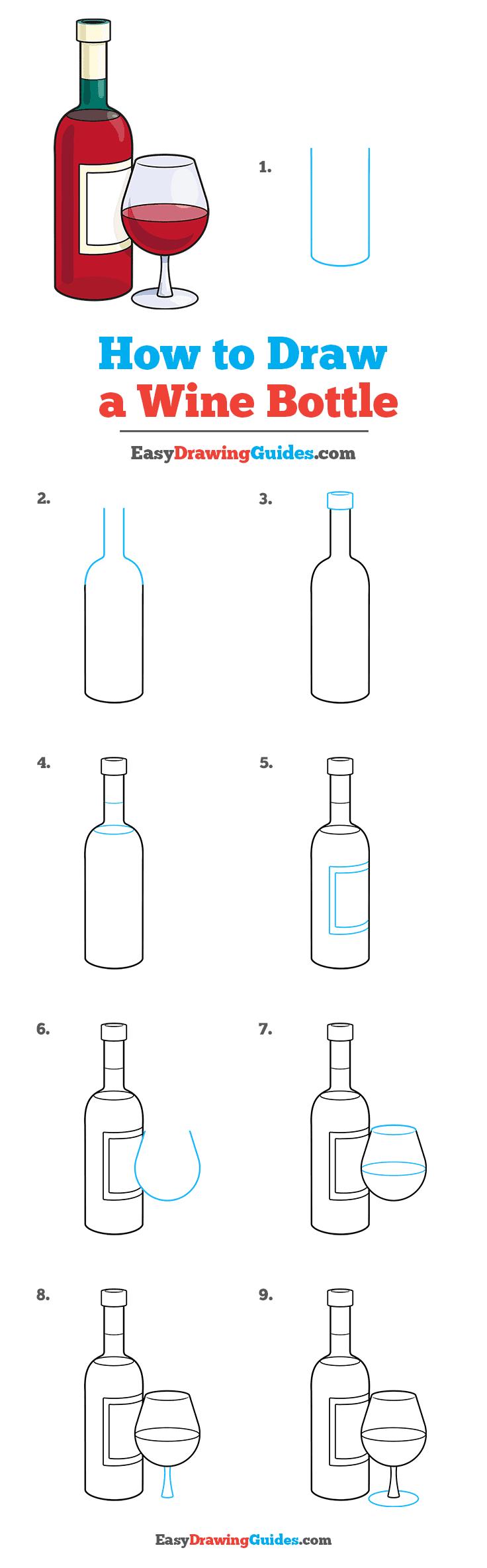 Wine Bottle Drawing Easy : bottle, drawing, Bottle, Really, Drawing, Tutorial