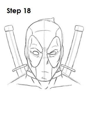 deadpool draw marvel drawing sketch step mask easydrawingtutorials comics