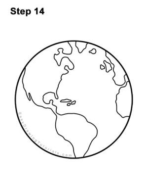 earth draw step drawing planet globe easy cartoon pencil clipart misc permanent inking carefully marker pen lines using