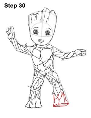 groot draw marvel pencil drawing galaxy drawings avengers guardians coloring line pages deadpool superhero step comics getdrawings easydrawingtutorials leg