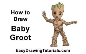 groot drawing easy draw marvel yoda galaxy guardians step below easydrawingtutorials instructions learn tutorials