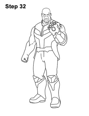 thanos draw avengers marvel easy drawing comics step sketch tutorials lines easydrawingtutorials pen