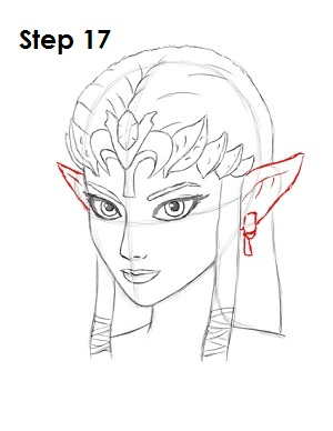 zelda draw step drawing sketch face ears pointy line them easydrawingtutorials lines