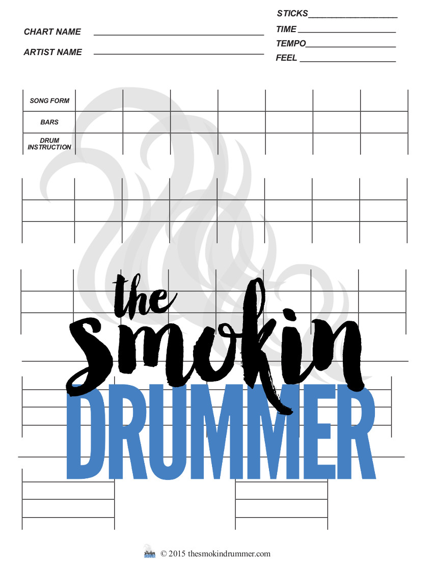 Blank Drum Chart with Drum Notation Staffs (One 4-Bars and Two 1 Bar) -  Easy Drum Chart