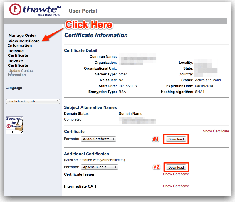 WordPress-Nginx + Thawte SSL Setup