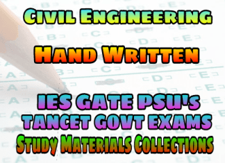 HAND WRITTEN GATE IES TANCET PSU EXAMS STUDY MATERIALS