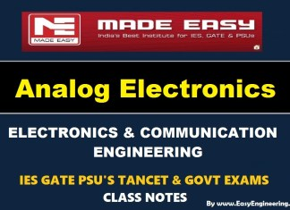 Analog Electronics Made Easy IES GATE PSU's TANCET & GOVT Exams Study Material For Electronics Communication Engineering – PDF Free Download
