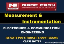 Measurement & Instrumentation Made Easy IES GATE PSU's TANCET & GOVT Exams Study Material For Electronics Communication Engineering – PDF Free Download