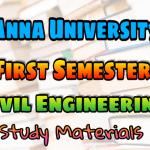 Anna University Civil Engineering First Semester