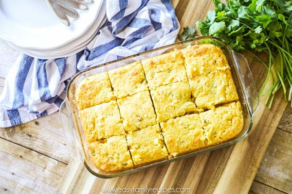 Easy Mexican Cornbread Baked and sliced