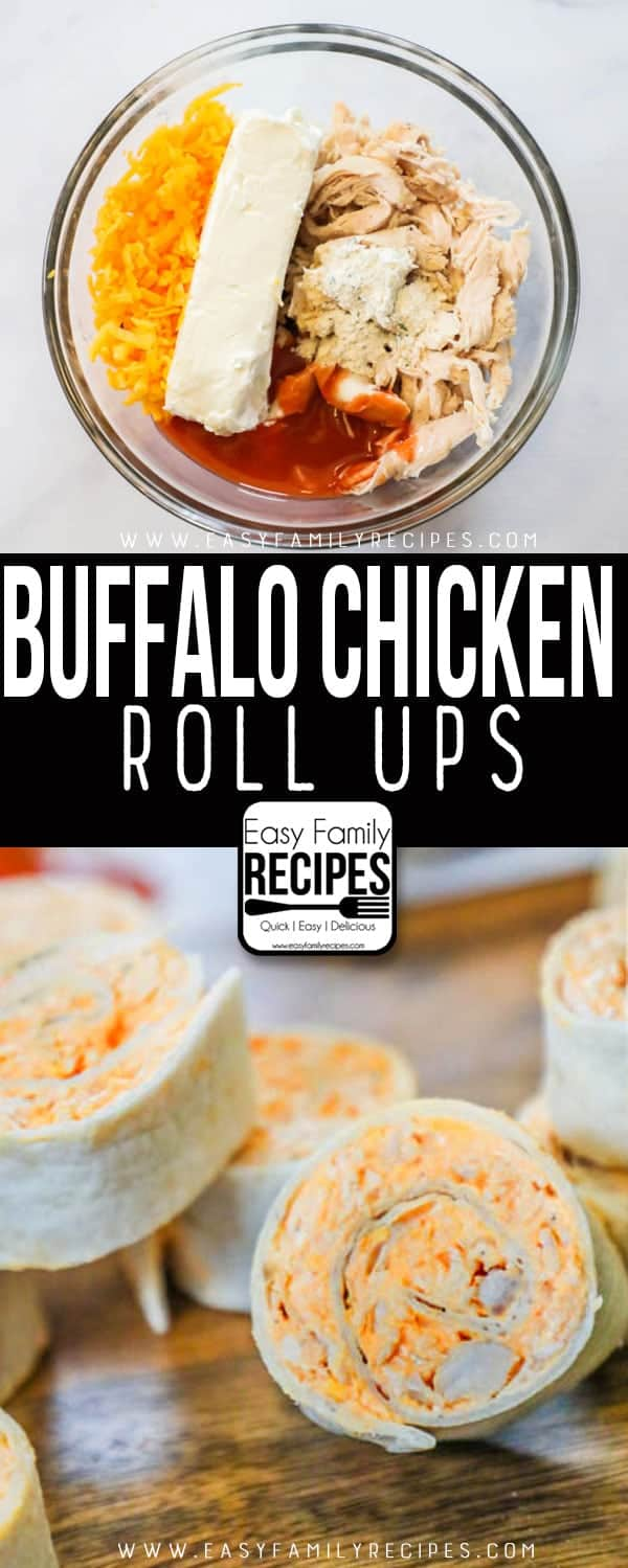 The BEST Buffalo Chicken Roll Ups recipe- Made with buffalo sauce, chicken, cream cheese, ranch and cheddar.