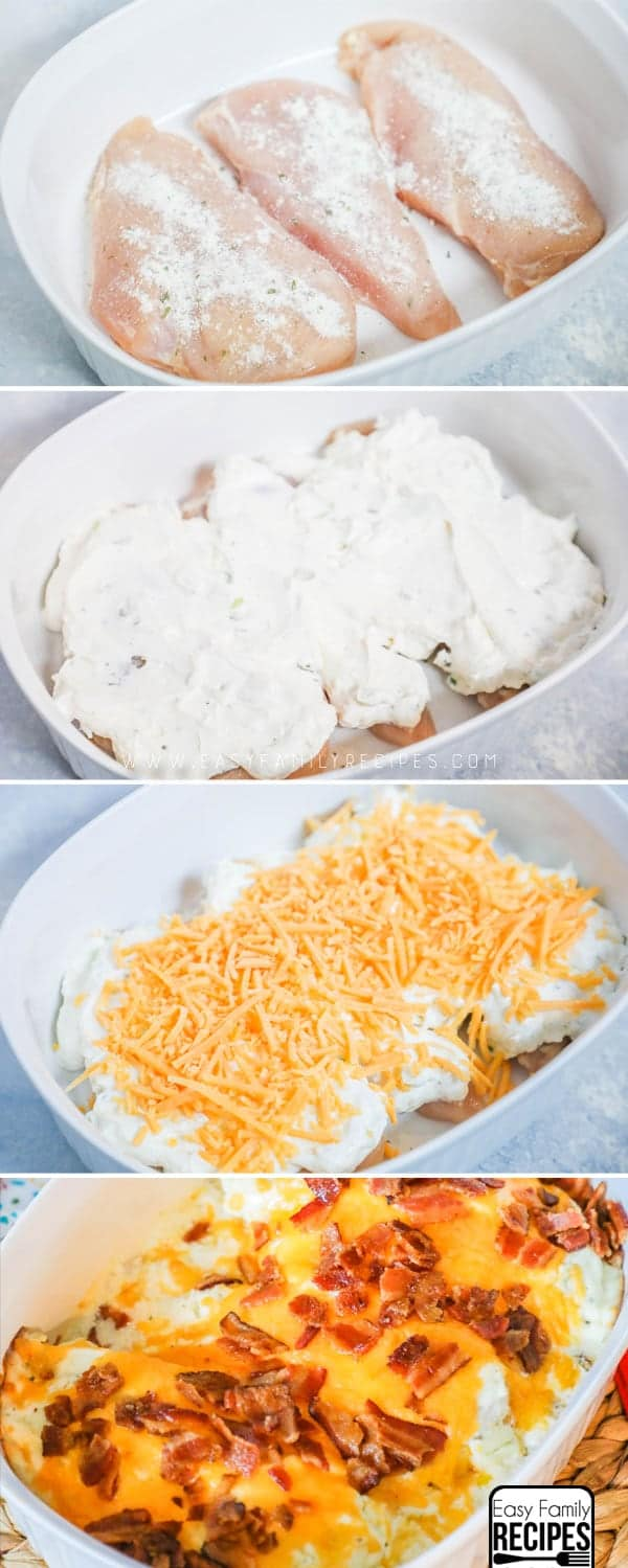How to Make Chicken Bacon Ranch Casserole Step by Step- Place chicken in casserole dish, spread on ranch mixture, top with cheese, bake and add bacon at the end.