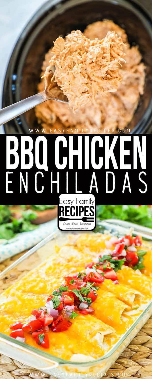Crock Pot BBQ Chicken Enchiladas