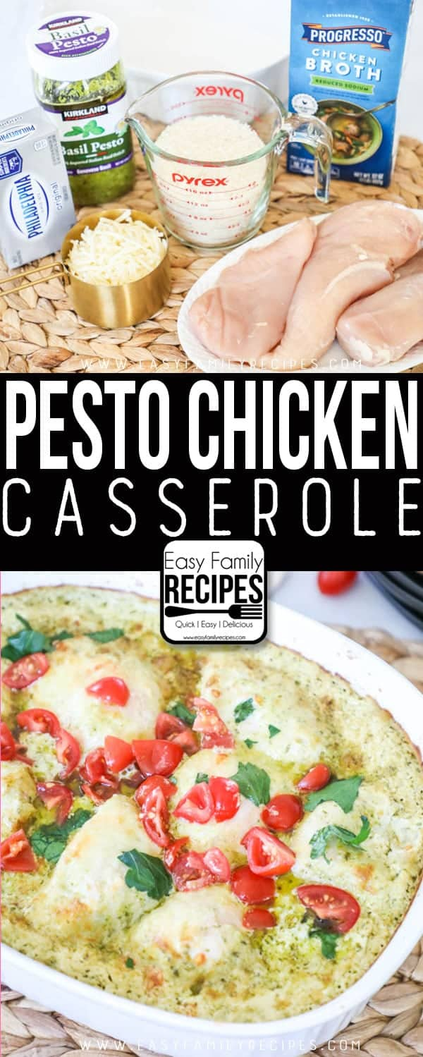 The BEST Pesto Chicken Casserole recipe - Simple ingredients and one dish!