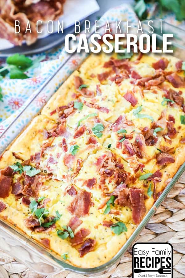The BEST Low Carb Breakfast Casserole with Bacon